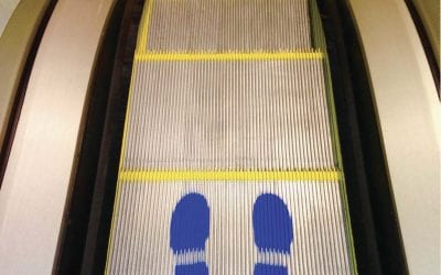Escalator & Travelator Social Distancing: Blue Safety Feet
